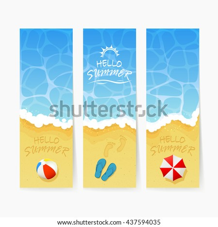 Set of cards with ocean wave and inscription Hello Summer on a sand, colored beach ball, flip flops with footprints and umbrella, illustration.
