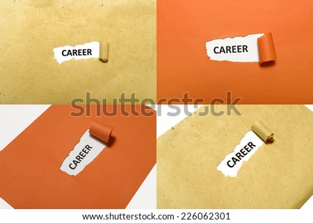 Set of Career text on orange and brown paper - stock photo
