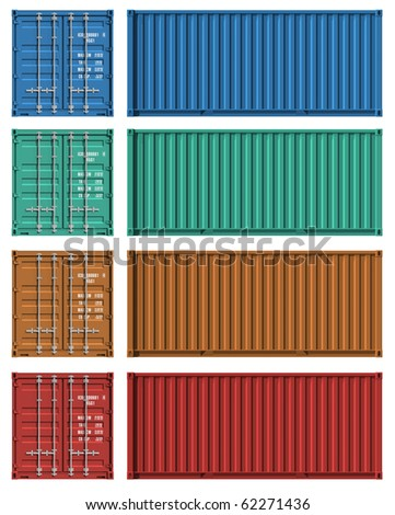 Set of cargo container templates - stock photo