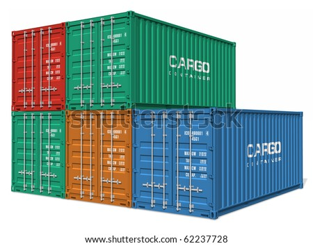 Set of cargo containers - stock photo