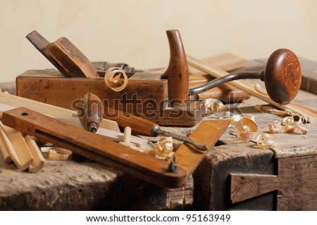 Set of carpenters tool at carpenters workshop - stock photo