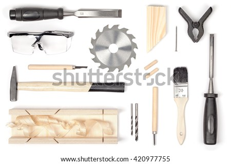 set of carpentry tools on white background top view. carpenter working table. carpentry and woodwork industry flat lay concept - stock photo