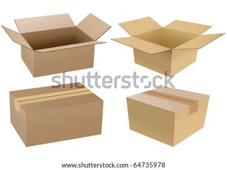 Set of carton boxes isolated over a white background - stock photo