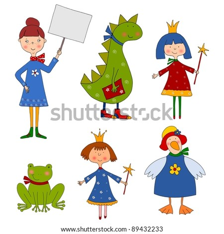 Set of cartoon characters - stock photo