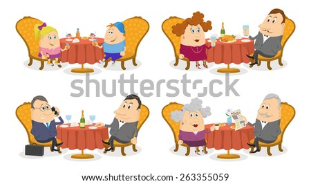 Set of Cartoon Characters, Restaurant Tables with Visitors Isolated on White, Children with Ice Cream, Couple with Holiday Dinner, Businessman with Champagne, old Man and Woman with Coffee - stock photo
