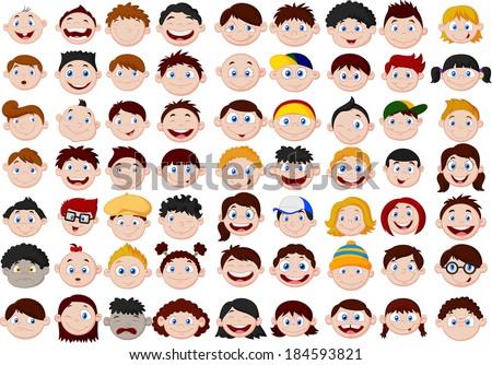 Set of cartoon children head - stock photo