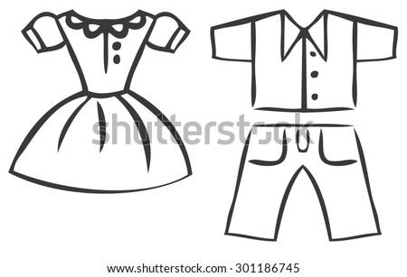 Red dress cartoon outline