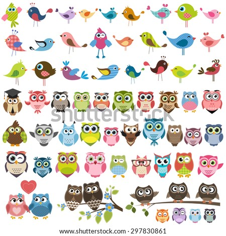 set of cartoon colorful birds and owls. Raster version - stock photo