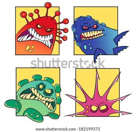 Set of cartoon concepts of dangerous monsters or viruses - stock photo