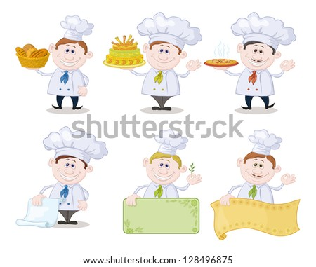 Set of cartoon cooks, chefs: hold basket of bread, cake, pizza, menus, posters. - stock photo