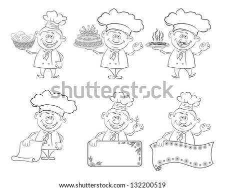 Set of cartoon cooks, chefs: hold basket of bread, cake, pizza, menus, posters, contour. - stock photo