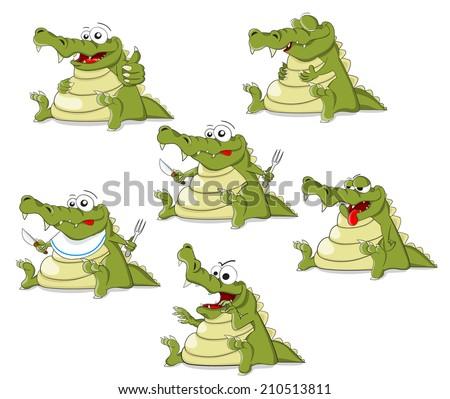 Set of cartoon crocodiles - stock photo