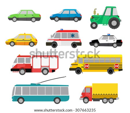 set of cartoon cute cars and special vehicles. raster illustration - stock photo