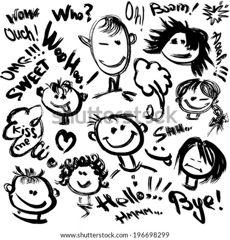 Set of Cartoon faces with different emotions. Handdrawn images and handwritten text. Raster version - stock photo