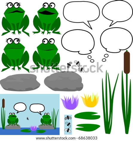 Set of Cartoon Frogs with Speech Bubbles - stock photo
