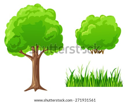 Set of cartoon green plants. Tree, bush, grass isolated on white - stock photo
