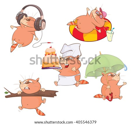 Set of Cartoon Illustration. Cute Cats for you Design  - stock photo