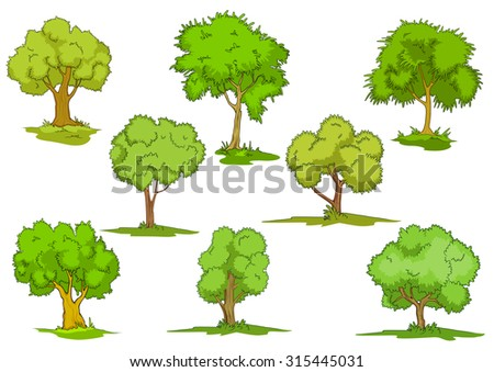 Set of cartoon leafy green trees on grass, design elements isolated on white - stock photo