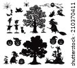 Set of cartoon objects and subjects for the holiday Halloween design, trees, animals and characters, pumpkins, witch, ghosts and other black silhouettes isolated on white background - stock photo