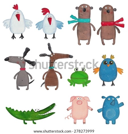 Set of cartoon pets - stock photo