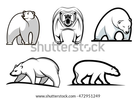 Set Of Cartoon Polar Bears Showing Five Different Stances Either Standing Walking Or Frontal Threatening