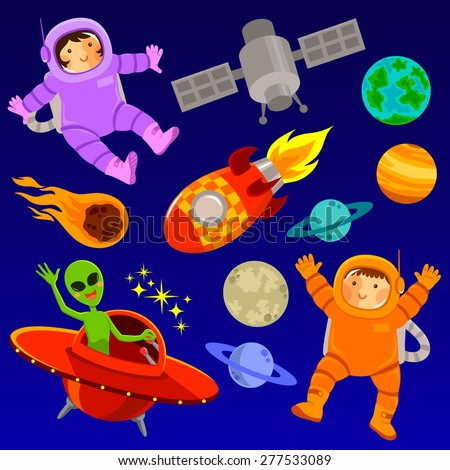 set of cartoon space elements and two happy astronauts