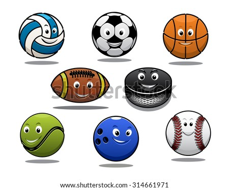 Set of cartoon sports balls equipment with a volleyball, basketball, soccer or football, rugby ball, hockey puck, tennis ball, bowls and baseball - stock photo