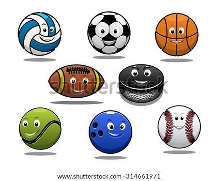 Set of cartoon sports balls equipment with a volleyball, basketball, soccer or football, rugby ball, hockey puck, tennis ball, bowls and baseball - stock photo