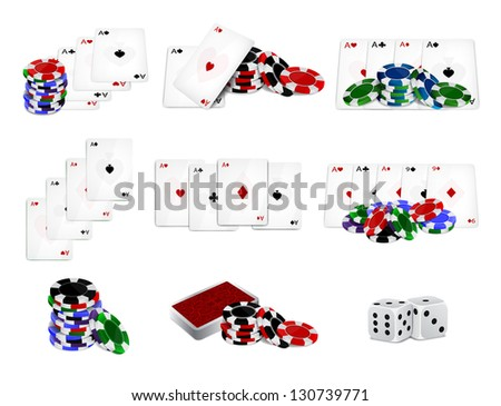 Set of casino chips and cards. Raster version of the loaded vector - stock photo