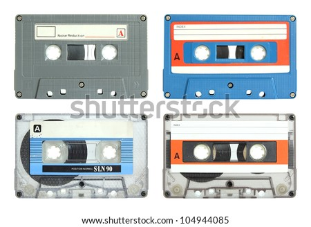 set of cassette tape isolated on white with clipping path - stock photo
