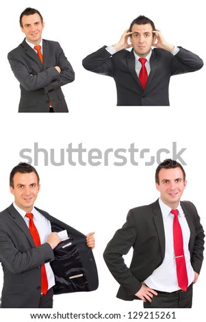 Set of caucasian  businessman on white. Isolated.