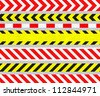 Set of Caution Tape and Warning Signs, SEAMLESS Strip, Old Metal Textured - stock vector