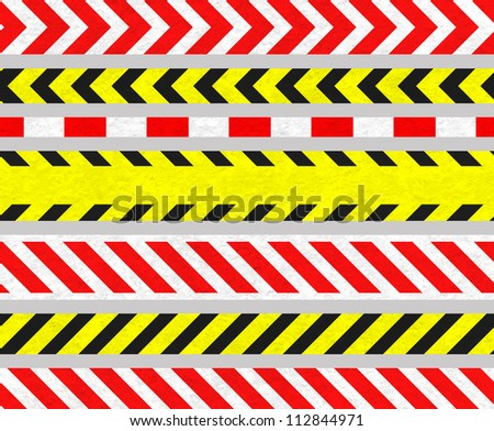 Set of Caution Tape and Warning Signs, SEAMLESS Strip, Old Metal Textured - stock photo