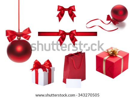 Set of celebratory elements for design box, tape, ribbon bow, Christmas red ball, baubles. - stock photo