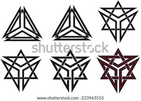 Set of celtic design elements - stock photo