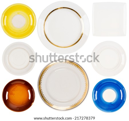 Set of  ceramic plates isolated on the white background  - stock photo