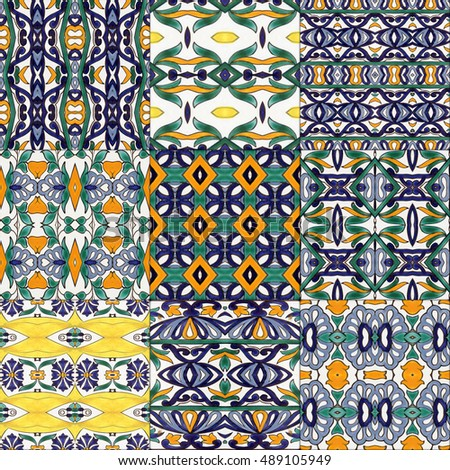 Set of ceramic tiles - color kaleidoscopically generated background, seamless