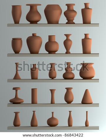 Set of Ceramic vase  3d illustration. high resolution