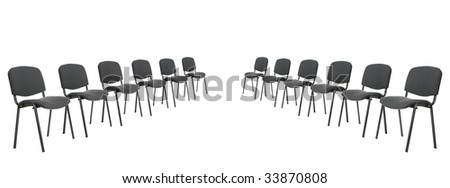 Set of chairs for discussion. It is isolated on a white background - stock photo