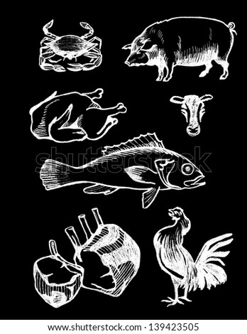set of chalk board hand drawn food illustrations, meat and seafood - stock photo