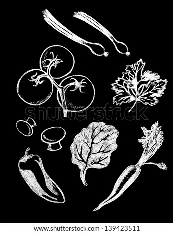 set of chalk board hand drawn food illustrations, vegetables - stock photo