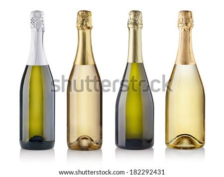 Set of champagne bottles. isolated on white background - stock photo
