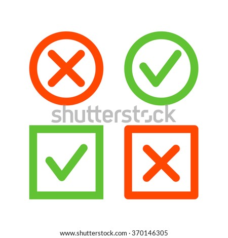 Set of check mark icons. Tick and cross line icons in circle and square shape - stock photo