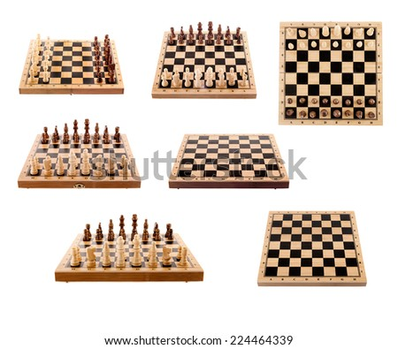set of chess Board and pieces isolated - stock photo