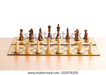 Set of chess figures on the playing board