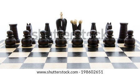 set of chess isolated on white background - stock photo