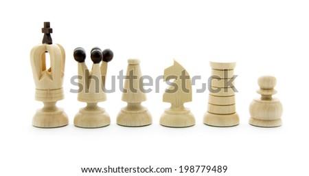 set of chess isolated on white background - stock photo
