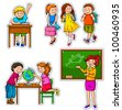 set of children and teacher at school (vector available in my portfolio) - stock photo