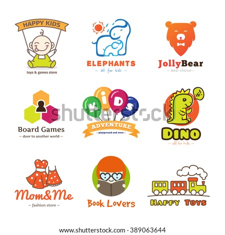 set children goods logos cartoon style stock illustration