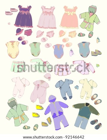 Set of children's clothes. Illustration of clothes for boys and for girls.